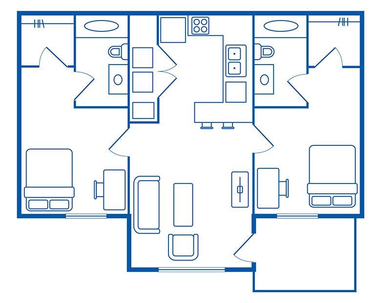 2 Bedroom & 2 Bath Apartments Floorplan