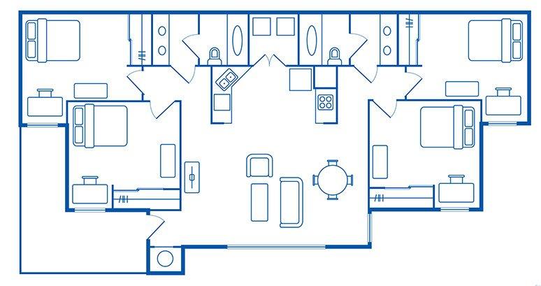 4 Bedroom & 2 Bath Apartments Floorplan